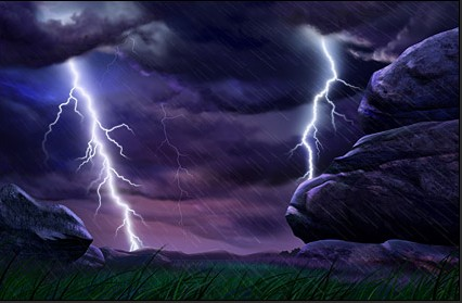 Lightning countryside