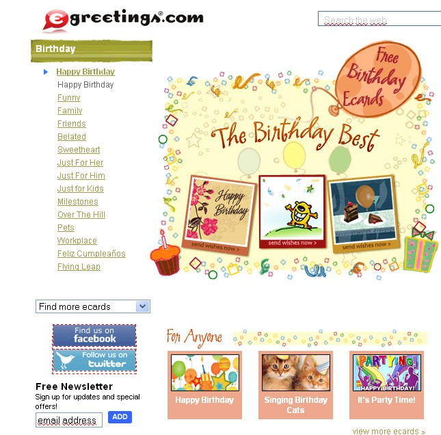 Free Birthday ecards and more