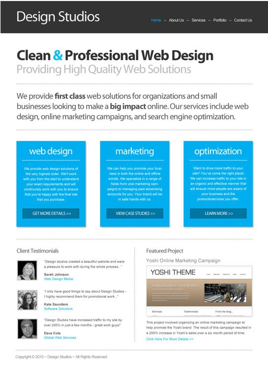 Clean Business website layout