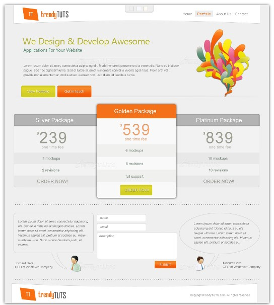 Another light psd layout for web page