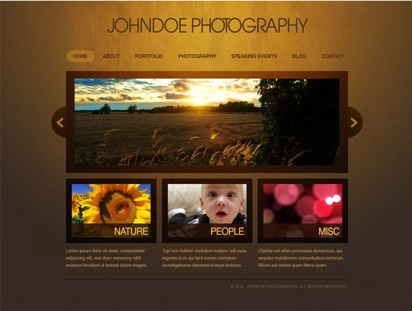 Elegant photography layout