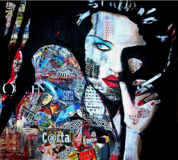 Smoking girl collage