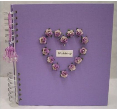 Lilac handmade linen Wedding Album