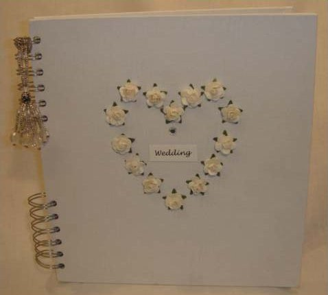 white handmade linen Wedding Album