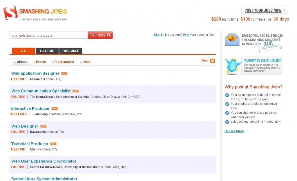 Freelance jobs on SmashingMagazine.com