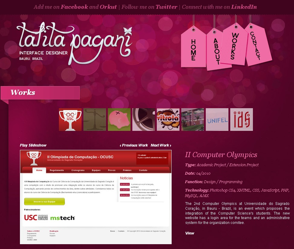 Site of Brazilian designer Talita Pagani