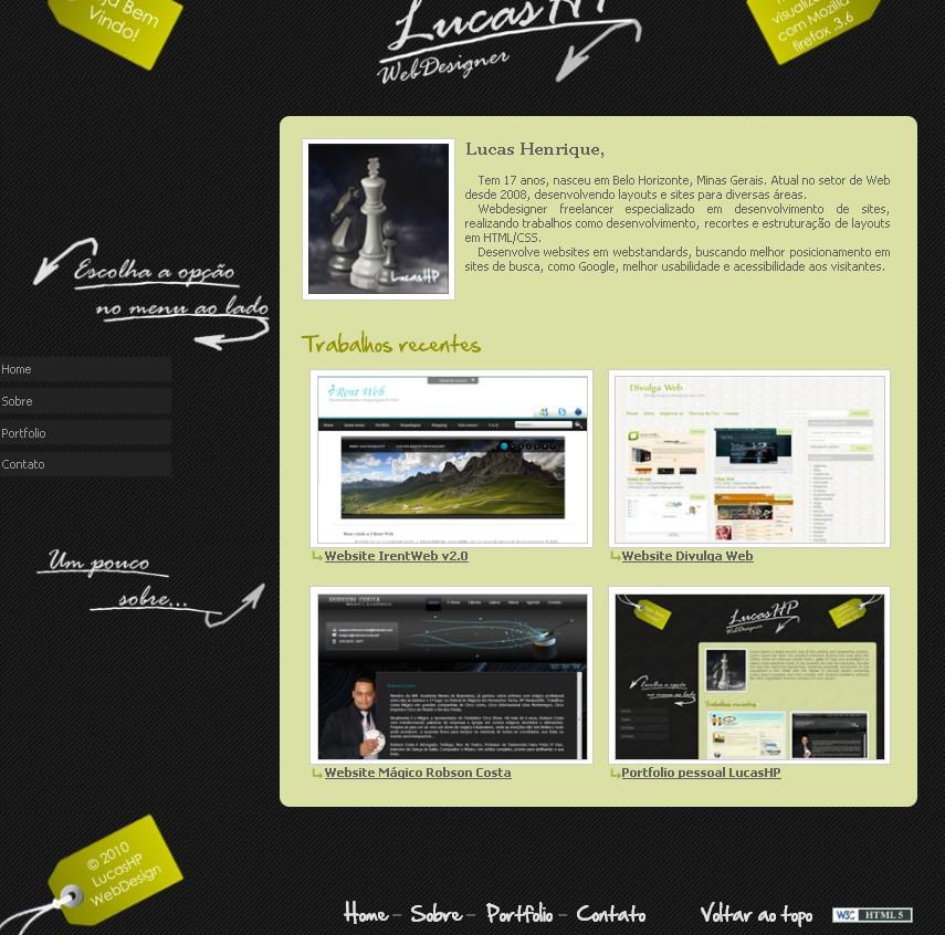 Online portfolio of of Lucas Henrique a Brazilian based web designer