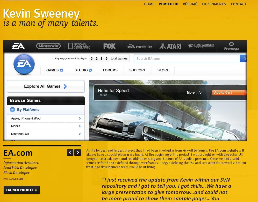 Portfolio site of interactive designer Kevin Sweeney