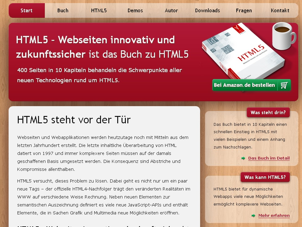 Website promoting a German HTML5 book