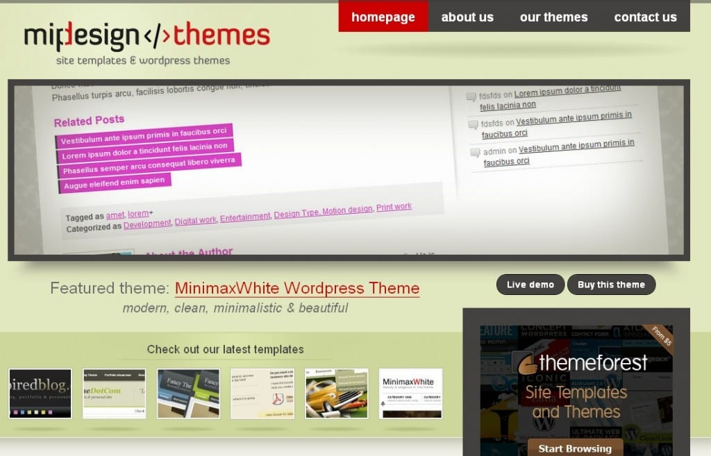 Portfolio for theme and template designers Mip