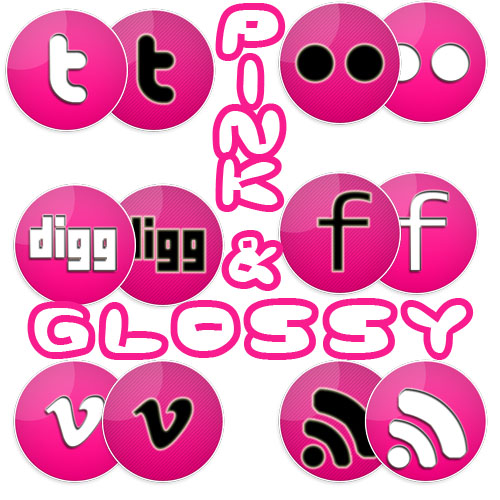 Pink & Glossy social icons