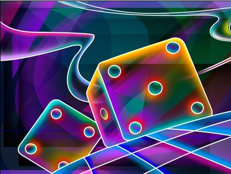 Multicolored dice abstract