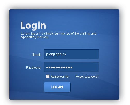 Blue and brown login panel
