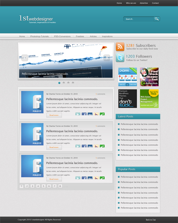 Create A Detailed Blue WordPress Blog Layout In Photoshop