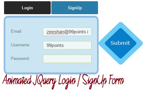 Stylish Animated Login and Signup Form with JQuery and CSS3