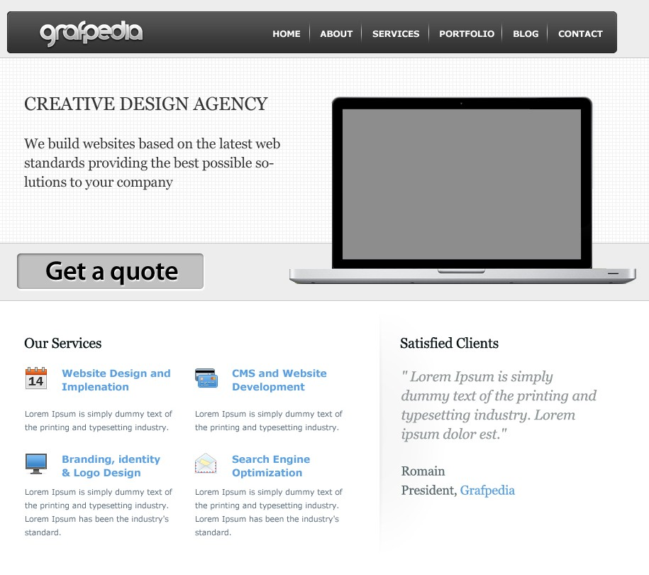 Create a business layout – CSS/HTML available