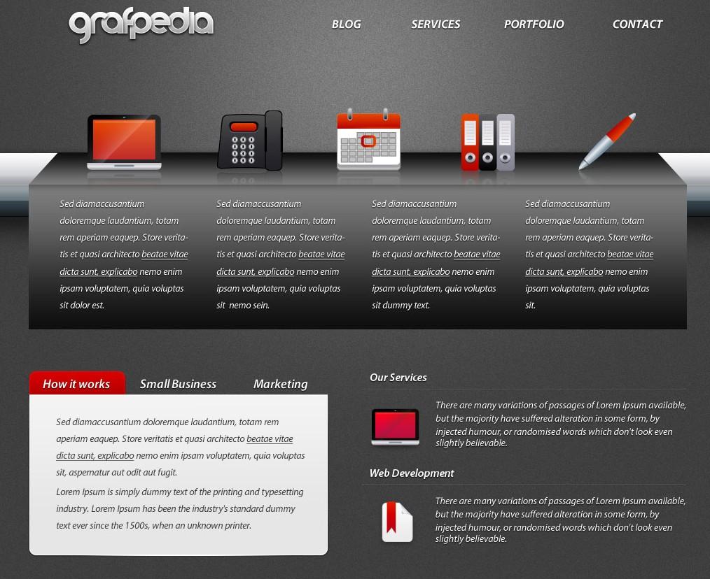Design a dark portfolio layout