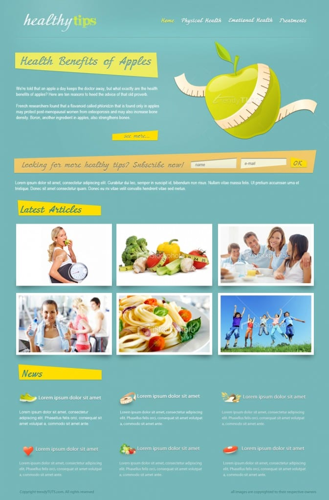 How to design a health/nutrition or a fitness website in Photoshop