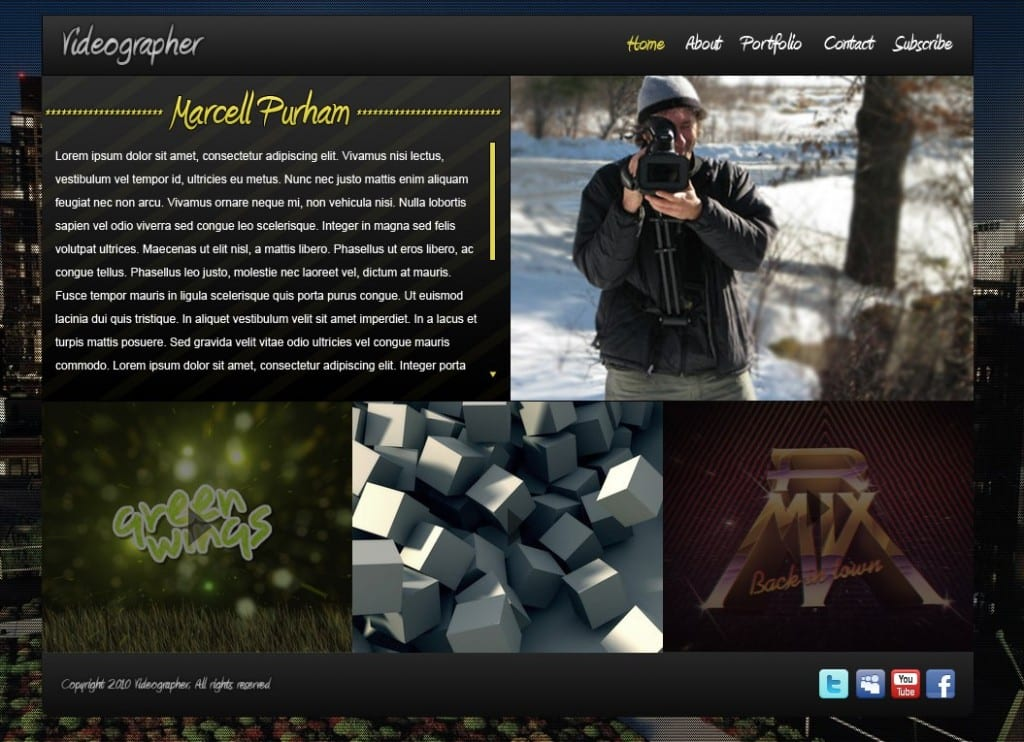 Create an impressive videographer website portfolio layout in photoshop