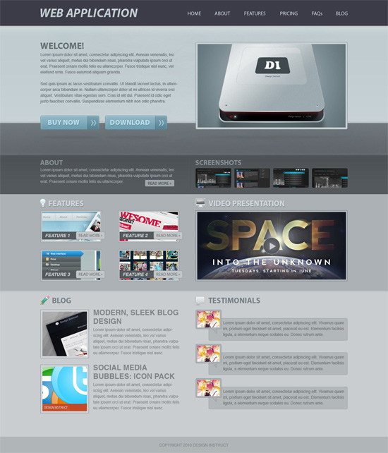 How to Create a Web App's Site Web Design in Photoshop