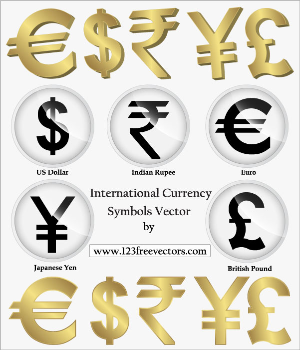3 set of currency symbols