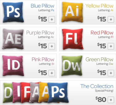 Adobe Creative Suite Icons Pillows