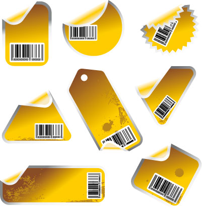 Yellow tag and sticker set with bar
