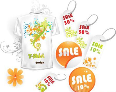 Floral pattern t-shirt and sale tags