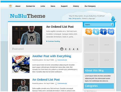 "a brand new WordPress theme called ""Nublu""."