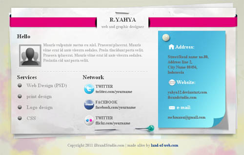 Vcard css/html FREE preview