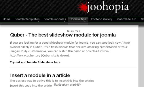 Hot joomla tips and trix