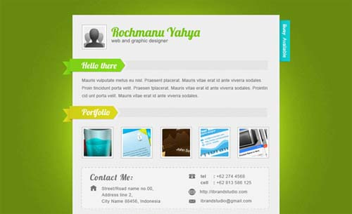 Green one page Vcard
