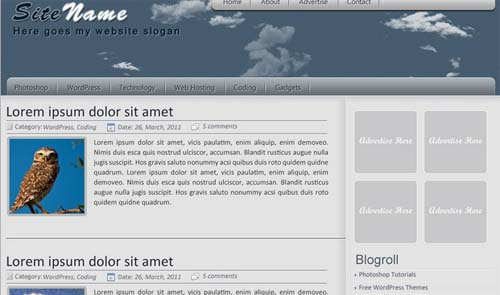 template for wordpress blog