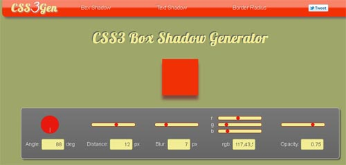 CSS3 Box Shadow Generator