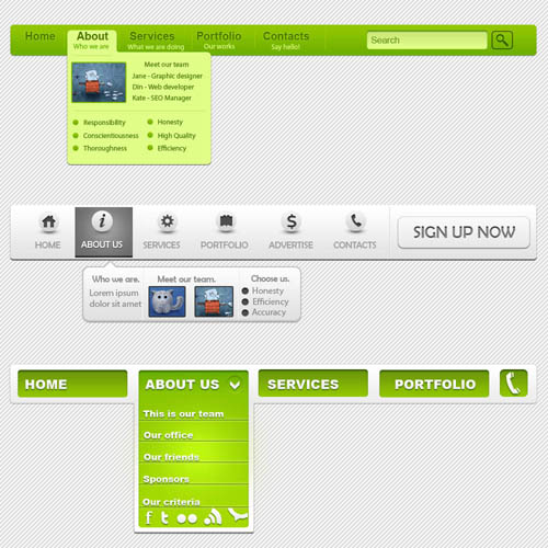 3 Color eb Navigation Menu PSD Website UI Element
