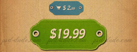 Price tag icons with free customizable PSD