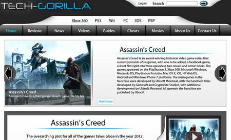 Modern Gaming website layout