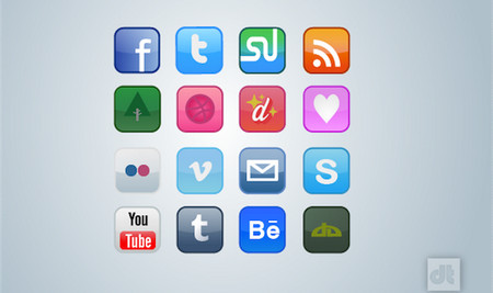 DESIGNER ICON SET – 16 SOCIAL MEDIA ICONS
