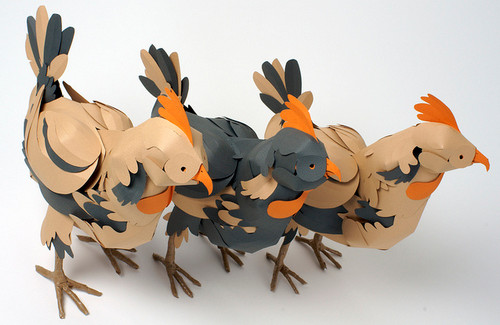3 Paper Chickens For Hermés