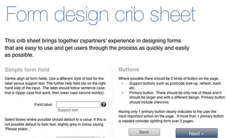 Cheat Sheet For Designing Web Forms