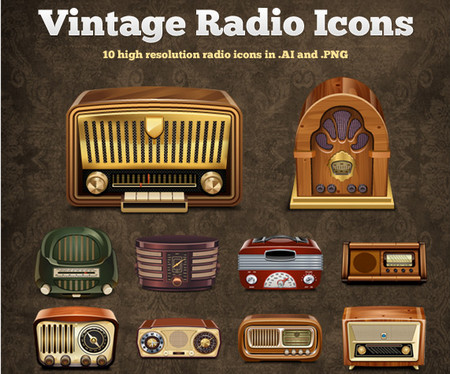 Vintage Radio Vector Icons