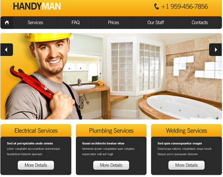 Website Template with Slideshow for Maintenance Business