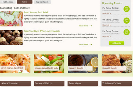 Yummiez: Free PSD Layout for a Food Website