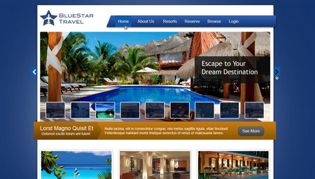 Bluestar Travel: Free Travel Website PSD Layout