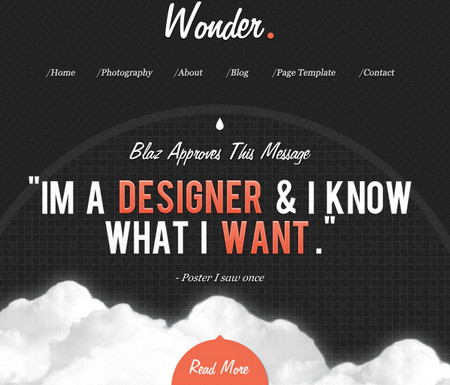 Wonder Theme – A free PSD Site Design