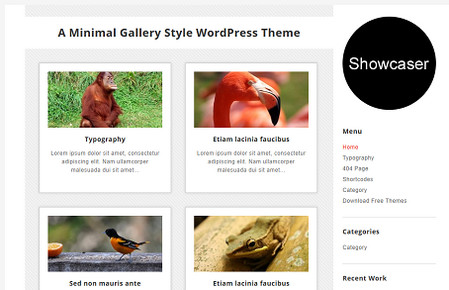 Showcaser Free Minimal Gallery WordPress Theme