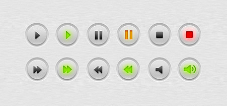 Multimedia (audio, video) buttons PSD
