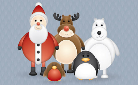 Christmas Themed Cute Vector Character Pack