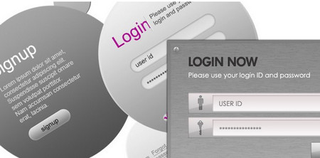 8 Modern & Web 2.0 Login and Signup Panels
