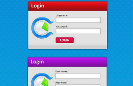 4 Colored PSD Login Form